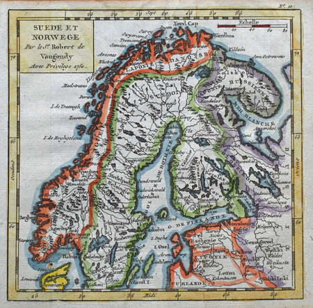 colored  Sweden and Norway map, by royal french geographer Vaugondy