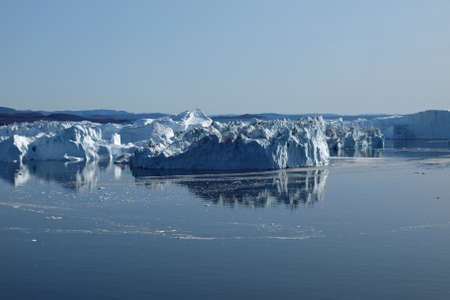 calving: Icebergs at the mouth of Ilulissat Icefjord.