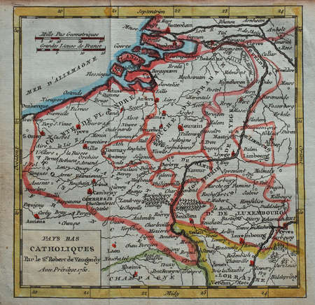 colored  XVIIIth century Netherlands map, by royal french geographer Vaugondy