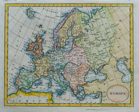 vintage colored europe map        photo