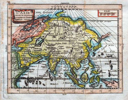 1764 Buffier colored map of Asia