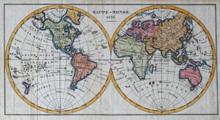 mapa de cor do mundo do vintage