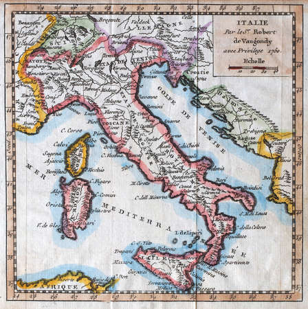 italy map: colored  XVIIIth century Italy map, by royal french geographer Vaugondy Stock Photo