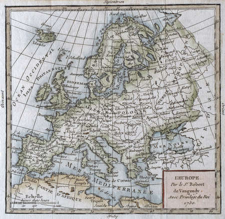 1750 hand colored map , by Vaugondy.     Editorial