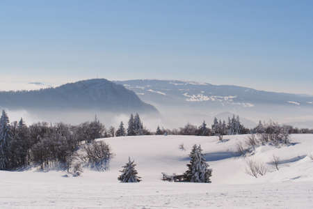 Jura Mountain in Winter, mont d or area , french slope photo