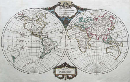 original antique world map by Vaugondy , 1795   Stock Photo