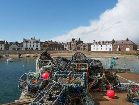 lobster pot: Lobster pot in Montrose harbor, Scotland, may 2013
