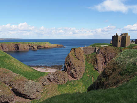 Dunnottar is a ruined medieval fortress, Scotland north east coast