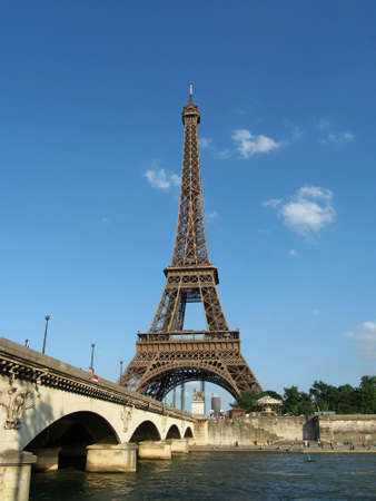 Eiffel tower and Iena bridge, Paris       Editorial