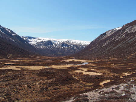 Glen Geusachan south of Cairn Toul, looking toward Monadh mor Stock Photo
