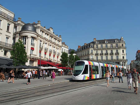 Angers, France, July 2013, tramway in the town center square