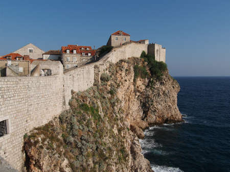 Dubrovnik fortified old town seen from the west, Croatia Stock Photo
