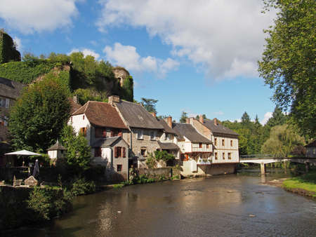 Segur le Chateau has been selected as one of the most beautiful villages of France, with  castle ruins dating from  the 12th century  Stock Photo