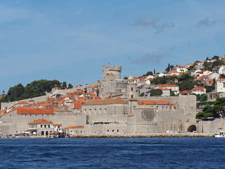 Dubrovnik, august 2013, Croatia, Ploce Gate and fortifications seen from the sea
