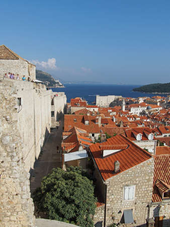 Dubrovnik, august 2013, fortified old town seen from the fortifications Editorial