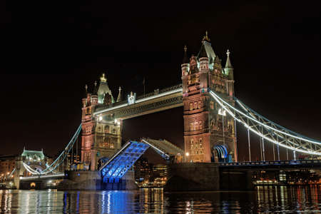 London Tower bascule Bridge at night with center span up