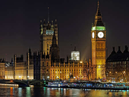 Westminster palace and Big Ben at night, London, december 2013 photo