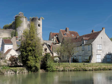 Montresor has been selected as one of the most beautiful villages of France, with  castle ruins dating from  the 12th century. Stock Photo