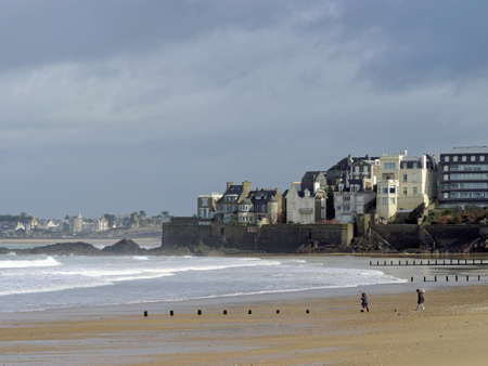 Coast north of Saint Malo at low tide, France Stock Photo
