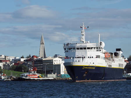 REYKJAVIK, ICELAND-JULY 29 : National Geographic explorer leaving the harbor  on July 29, 2014 in Reykjavik