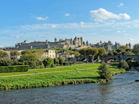HDR of Carcassonne medieval town seen from the river Aude, France Stock Photo