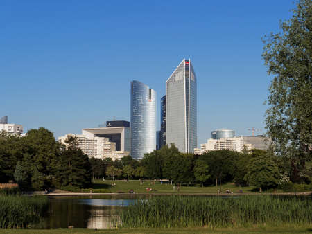 La Defense Skyscrapers seen from Nanterre Malraux park, Paris june 2013