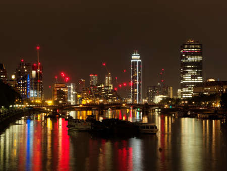 London Thames, Lambeth and Westminster districts seen from Lambeth bridge at night, august 2018