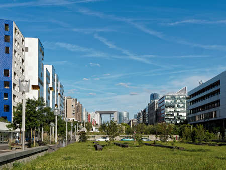 Modern housing in Nanterre with La Defense in the background, Paris, France