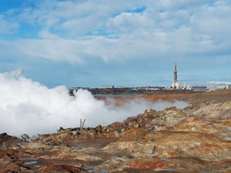 Geothermal power plant with fumes in the foreground, Reykjanes peninsula  Iceland