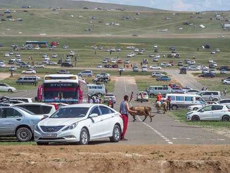 Naadam Festival Horse riding competition. Crowds gather to watch the annual Horse racing 免版税图像