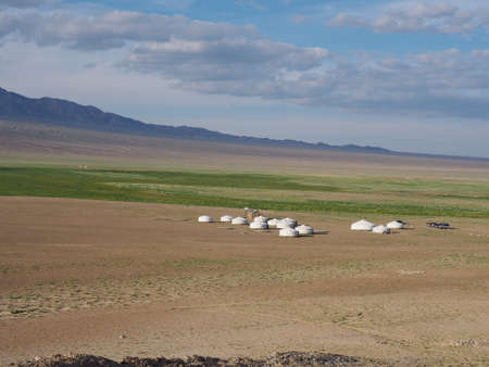 Ger Camps can be found throughout Mongolia. Local Nomads move to different areas building their Ger camps from scratch throughout the year with the changing seasons. This Ger camp is near the Gobi Altai Mountain Range.