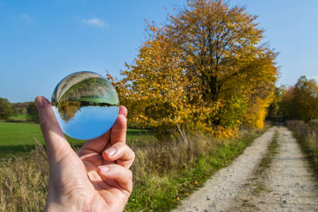 hand, reflection in a glass ball, autumn,