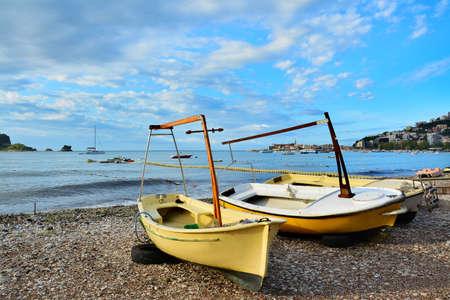boats on the shore of the beach, Adriatic Sea, Budva, Montenegro 版權商用圖片