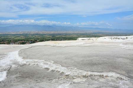 Natural travertine terraces at Pamukkale, Turkey.