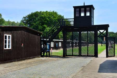 Cancello di ingresso nel campo di concentramento di Stutthof, Polonia Editoriali