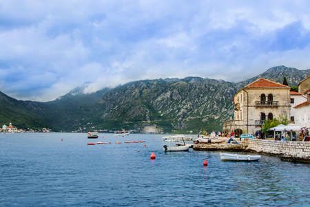 Historic city of Perast in the Bay of Kotor in summer. montenegro