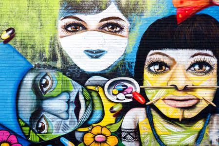 BELO HORIZONTE, BRAZIL - JUNE 8, 2014:  Street art by unidentified artist. Even with the lack of support, artists exhibit their graffiti work as a vibrant urban culture in streets of Belo Horizonte.