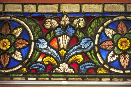 Vivid colourful stained glass window