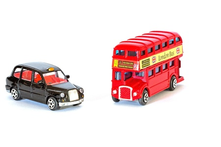 Abstract London bus and London black taxi isolated on white Stock Photo