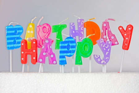 Happy Birthday sign, with grey background