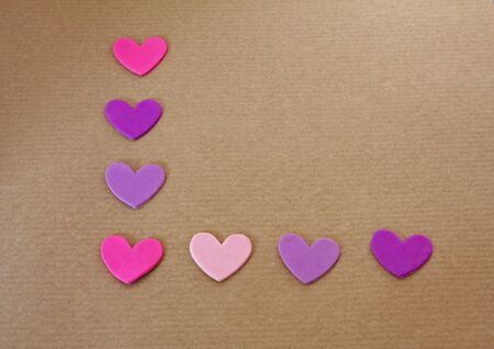 Eight hearts placed in the letter  L   Stock Photo