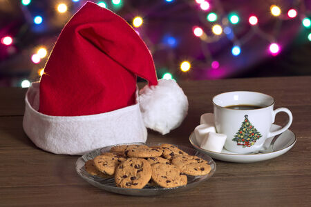 Cookies and coffee in Christmas photo