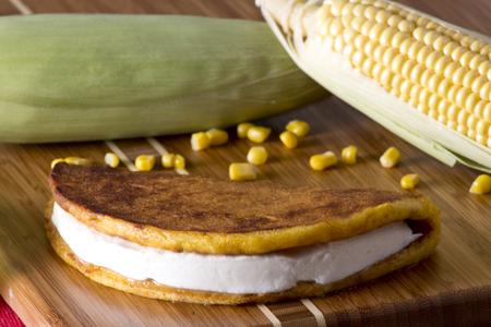 corn tortilla: Corn tortilla with white cheese typical venezuelan food.