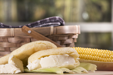 colombian food: Typical Venezuelan or Colombian meal, with arepas, cheese