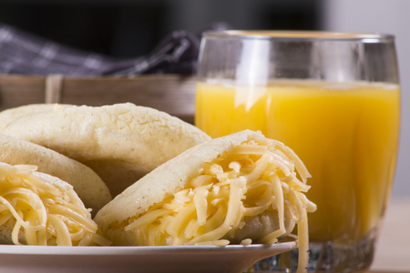 colombian: Typical Venezuelan or Colombian meal, with arepas, cheese