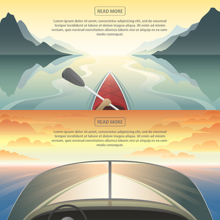 Flat banners set of summer sport, travel vacation from the first person, with beautiful panoramic image of a sunset over the water. Kayaking, powerboat. Modern design. Horizontal vector illustration.