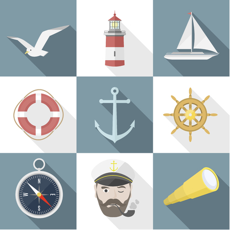 seas: Set of sea flat icon objects with shadows. EPS8, modern design elements, summer rest, sailing on the seas. vector illustration Illustration