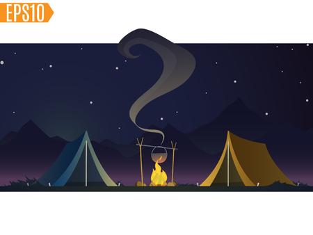 brandweer cartoon: tenten met vreugdevuur op donkere nacht bos achtergrond. mooi concept camping met wilde natuur buiten. zomer reizen. vrije tijd, reizen extreem. cartoon afbeelding. Stock Illustratie