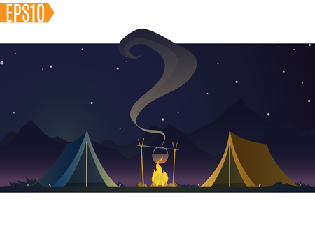 fire wood: tents with bonfire on dark night forest background. beautiful concept camping with wild nature outdoors. summer travel. leisure, travel extreme. cartoon illustration. Illustration
