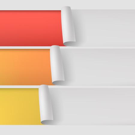 unstuck: 3 numbered strips of paper. 3d illustration Illustration